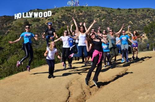 holywood sign, group, live, jump